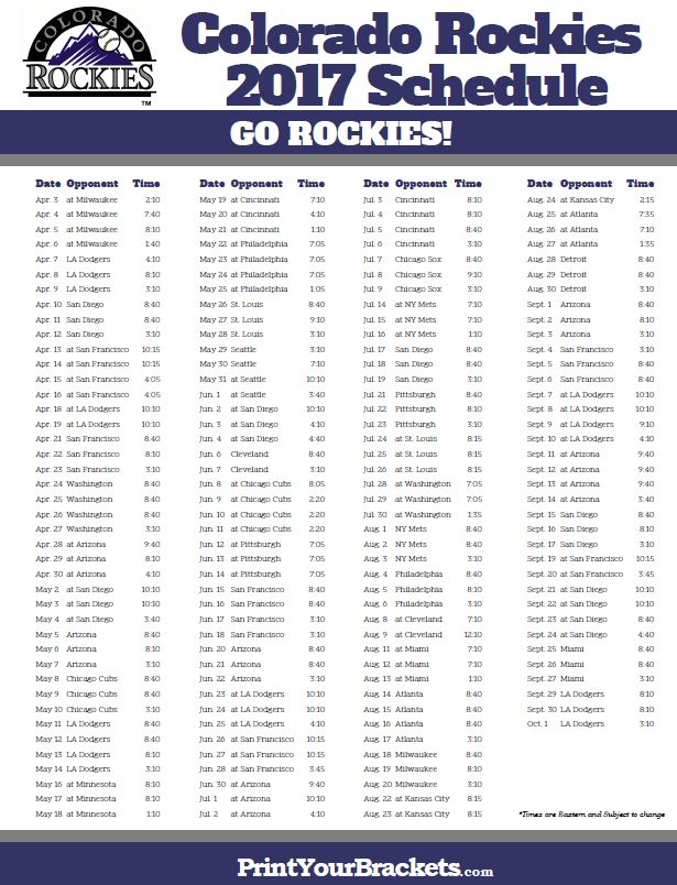 2017 Colorado Rockies Schedule