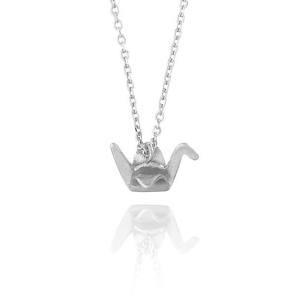 Origami Crane Necklace -  A symbol for peace & longevity, this stunning crane necklace is crafted with fine details. Perfect necklace worn by itself, or stacked with other fine pieces. Chain length: 45cm Pendant size: 1.1cm W x 0.7cm H Material: High quality Rhodium plating over brass (Nickel & Lead free)