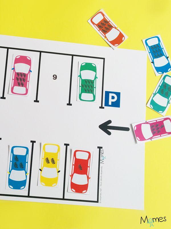 Un simple jeu de voiture pour apprendre à compter de 1 à 10 en garant les voitures aux bons emplacements !