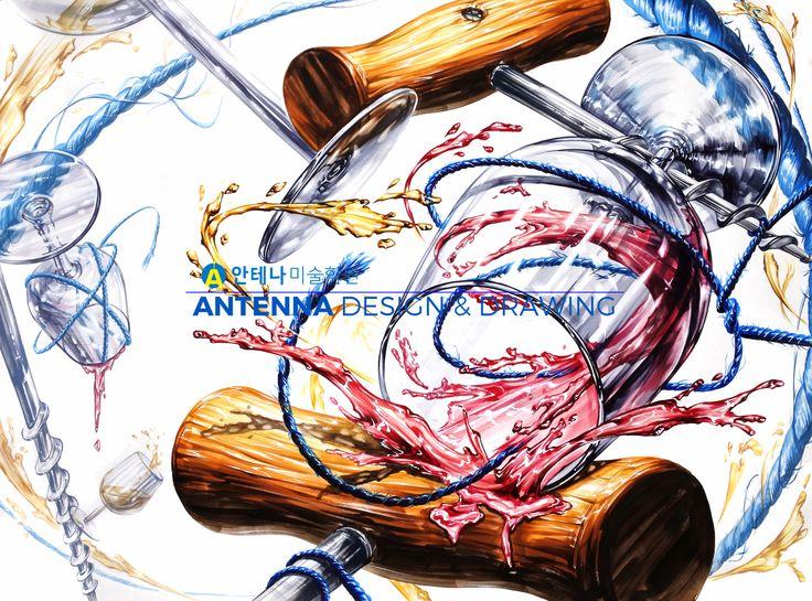 중앙대 기초디자인 재현작, 기초디자인, 기초디자인 유리, 와인잔, 와인오프너, 기초디자인 나무, 기초디자인 끈, 질감묘사, 질감표현, 개체묘사, 개체표현