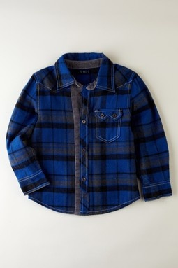 //Corduroy Elbow Patch Flannel Shirt