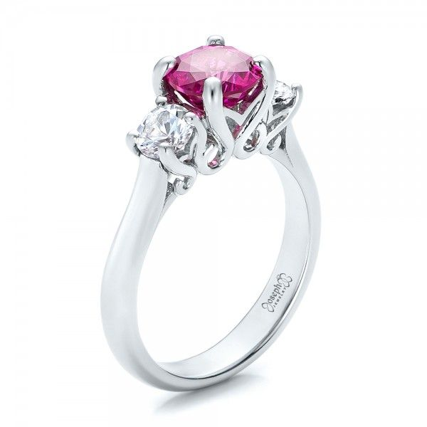 custom pink and white sapphire engagement ring joseph jewelry bellevue seattle online - Design Your Own Wedding Ring