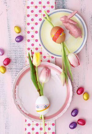 Deko-Teller: Ei mit Tulpen