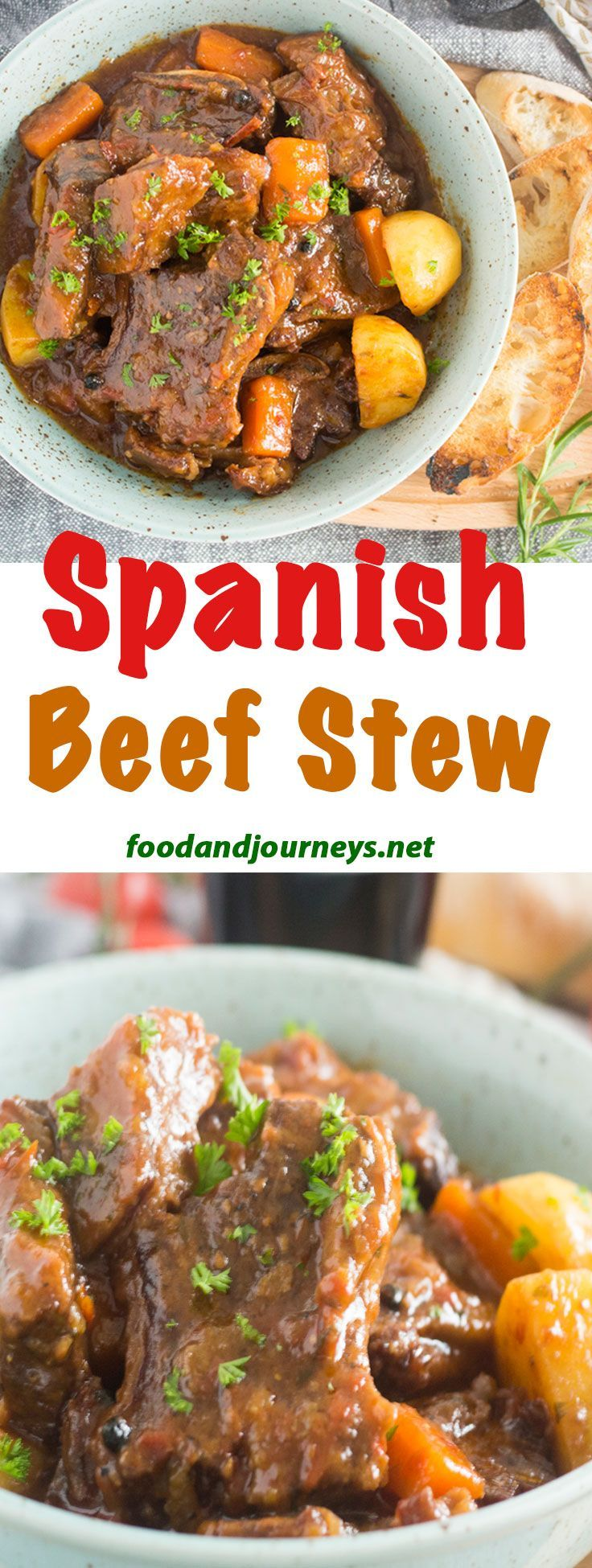 Spanish Recipe | Stew Recipe | Beef Recipe | Braised Beef. This Spanish Beef Stew is the absolute comfort food! Richly-flavored sauce and fall-off-the-bone short ribs!  Enjoy it with some crusty bread and a glass of red wine! #spanishrecipes #ShortRibsStew #beefrecipes #stewrecipes