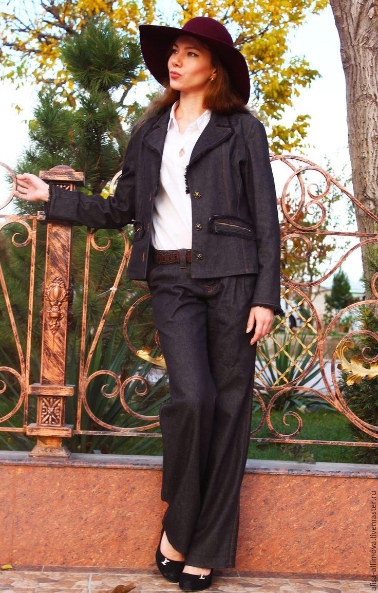 """Купить Костюм """"Офисный бохо"""" - темно-серый, однотонный, брючный костюм, костюм женский"""