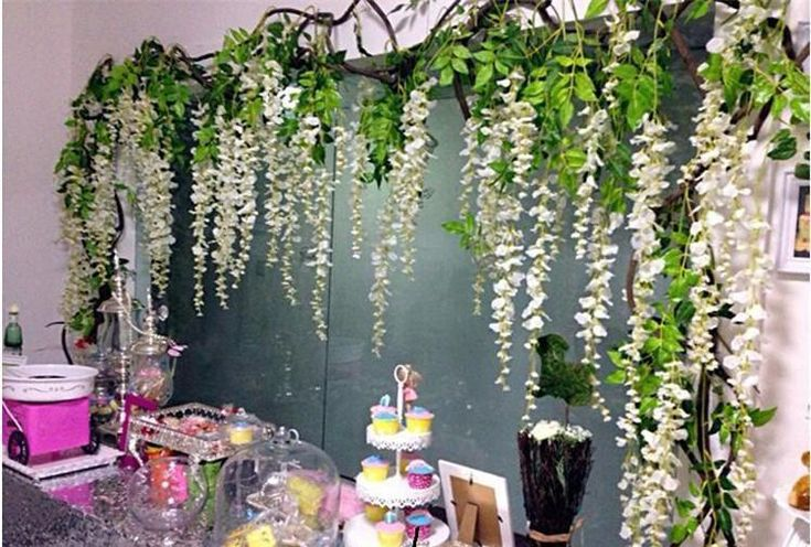 12 Ivory Wisteria Hanging Flower Garland For Wedding Backdrops, Birthday Party Decors 110cm