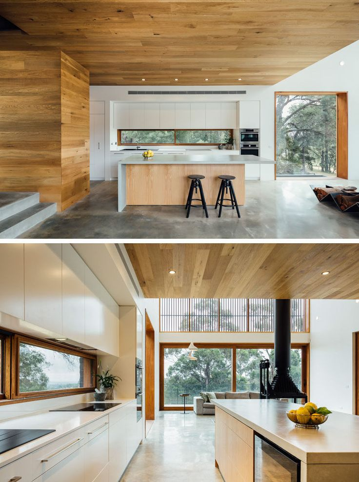 12 Inspirational Examples Of Letterbox Windows In Kitchens // This wood framed letterbox window doubles as a backsplash and creates a nice contrast with the white cabinetry and countertops.
