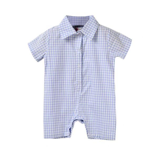 Новая мода Дети Baby Boy малышей Turn Down Воротник Короткие рукава плед Краткое Bodysuit Rompers