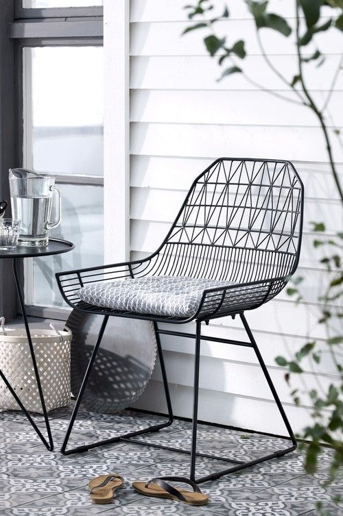 geometric bent wire patio chair