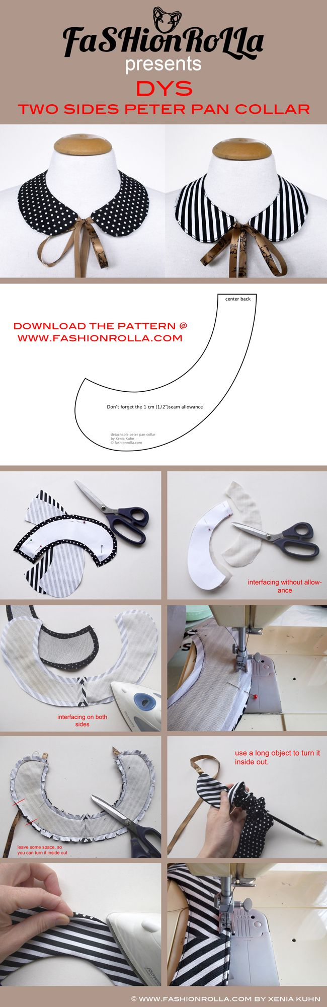 [DIY] Two sides peter pan collar | Fashionrolla by Xenia Kuhn: [DIY] Two sides peter pan collar