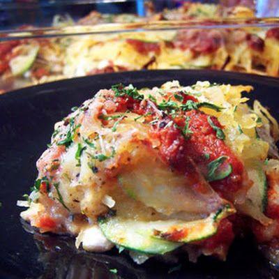 "Zucchini & Spaghetti Squash ""Lasagna"" @keyingredient #cheese #casserole"