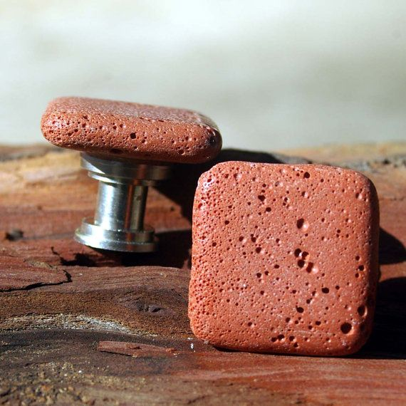 Cabinet Knobs - Terracotta Squares - Set of 2, Stone Cabinet Knobs, Kitchen Knobs and Pulls via Etsy $8 pair from from Knucklehead Knobs