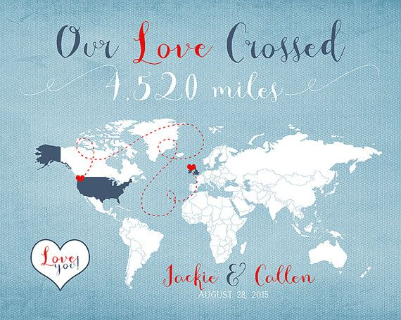 Long Distance Relationship Anniversary Gift for by WanderingFables