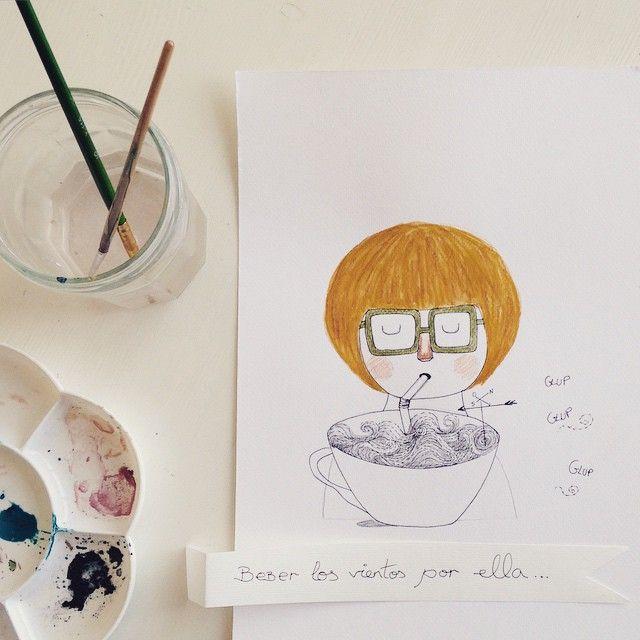 """""""Beber los vientos por ella"""" Book illustration / Character design by eva escoms estarlich"""