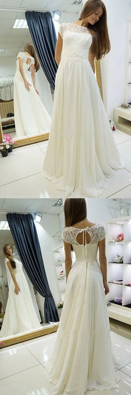 A-Line Wedding Dress Beach Wedding Gown,Sweep Train Cap Sleeves Bridal Dress With Lace