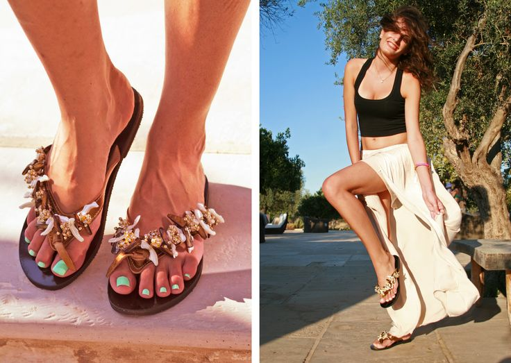 Santorini Flip-flop! Like the greek island Santorini, a combination of gold, brown and white elements! BonbonSandals