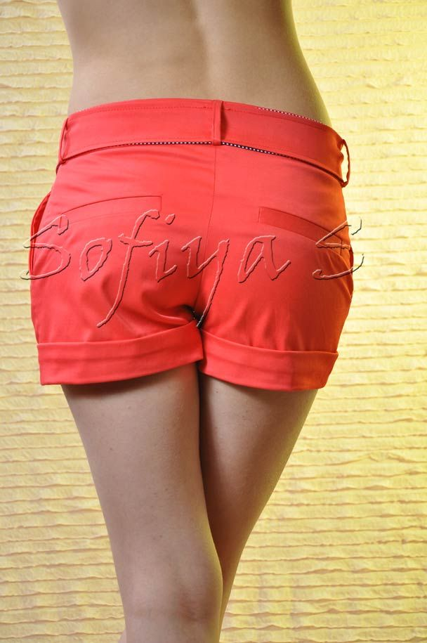 Красные брюки с черным тканевым поясом G12973