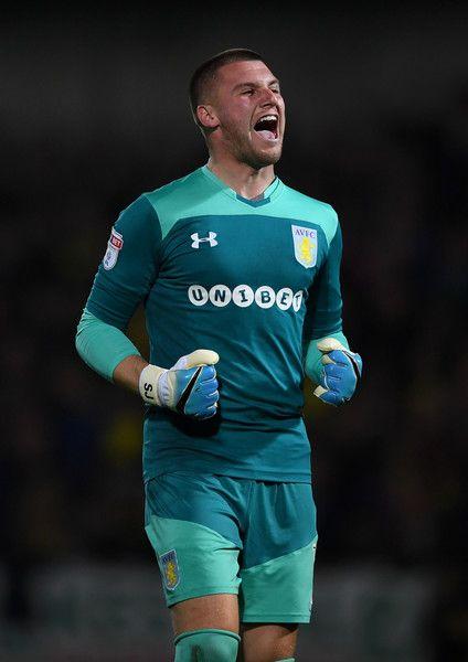 Aston Villa goalkeeper Sam Johnstone celebrates his team's opening goal during the Sky Bet Championship match between Burton Albion and Aston Villa at Pirelli Stadium on September 26, 2017 in Burton-upon-Trent, England.