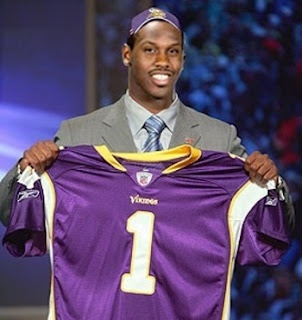Projected draft pick: 35  Projected position: DE  Projected playing time: 40% snaps, primary backup behind Allen and Brian Robison, competing for starting job  Projected Stats: 6.5 sacks  Sack Celebration: Brett Favre Flash  Favorite teammate: Chris Kluwe  Rookie Hazing task:Scouring Hotwire for good Lake Minnesota boat expedition deals, wearing a Vikingsyarmulke on draft day (see above)