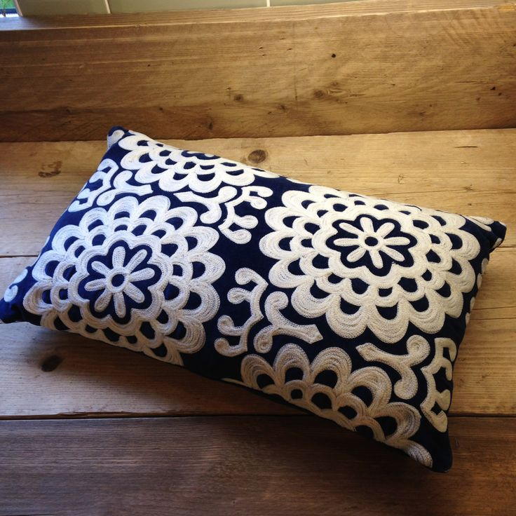 Blue Velvet Cushions Embroidered Fair Trade