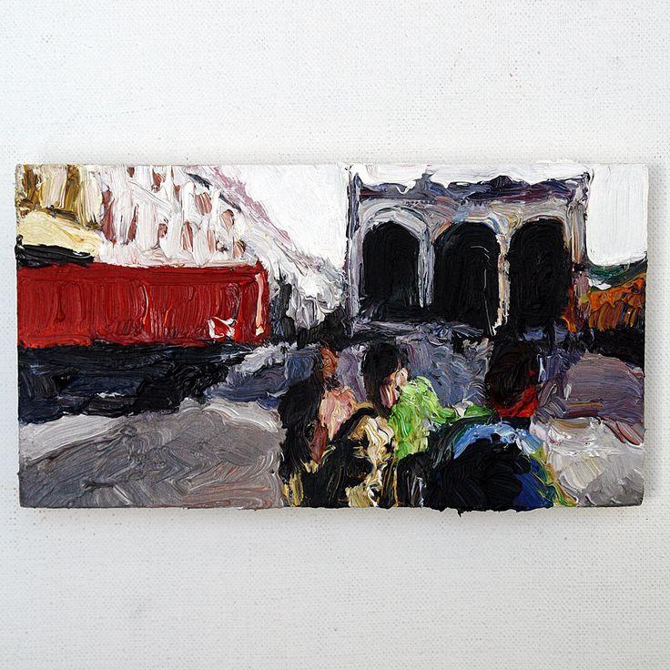 Martin Potsch | Feldherrnhalle, Laster u. Touristen, 11x20cm, Orig Öl/Holz, sign