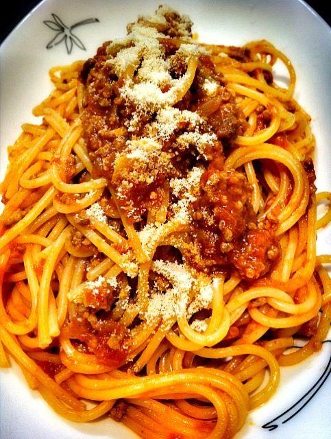 今夜はオーソドックスに - 3件のもぐもぐ - スパゲッティ・ミートソース by camille