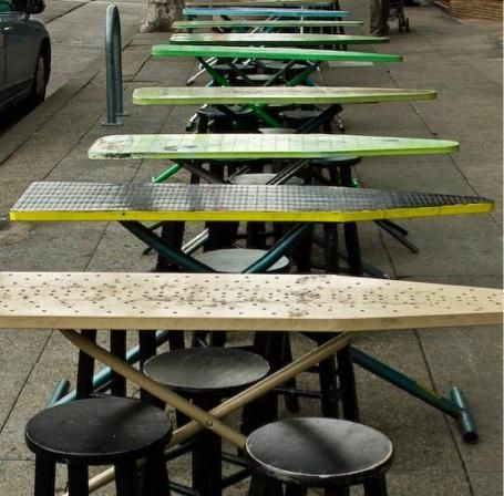 outdoor ironing board tables at Bakesale Betty--so cool!