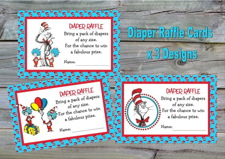 Dr Seuss Diaper Raffle Cards - Instant Download - Cat in the Hat Diaper Raffle Card, Thing One Thing Two Diaper Raffle Cards by KleezPrints on Etsy