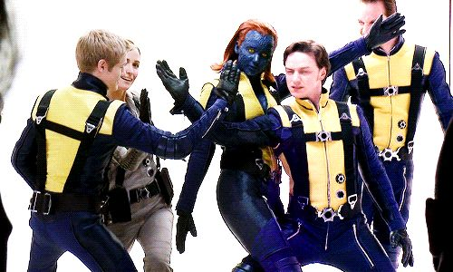 First Class cast photoshoot, making xmen sign