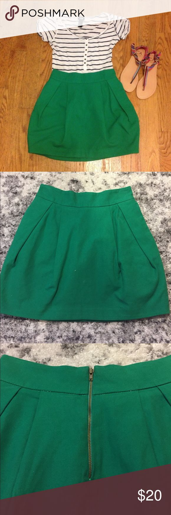 Green Zara tulip skirt Emerald green skirt (same as red skirt also listed). Bought off posh, only used once. Love it!  Complete with pockets! Zara Skirts Mini