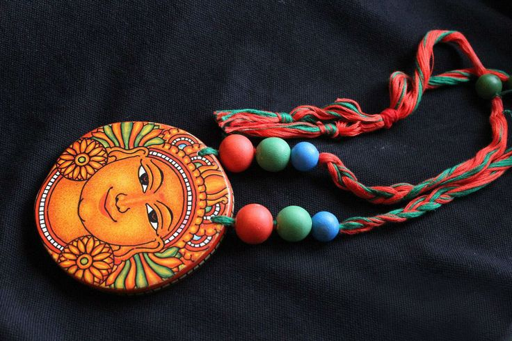 Kerala mural wooden pendant for Mural jewellery