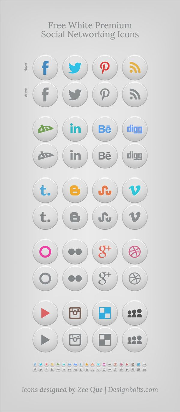 Free-white-premium-social-networking-icons