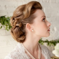 Retro Updo, bangs swept back and to the side (Katie)