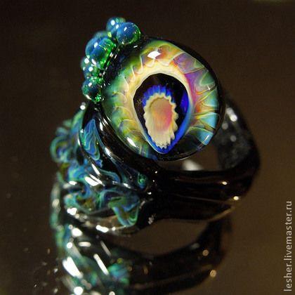 Кольца ручной работы. Ярмарка Мастеров - ручная работа Хозяйка ночного леса - кольцо лэмпворк. Handmade.