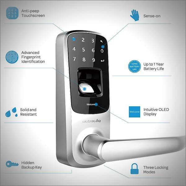 Lock the door and throw away the key, save that prime pocket real estate for lint and every single gadget that you absolutely need to have with you at all times. Ultraloq Smart Door Lock is Bluetooth-enabled, features a touchscreen and a fingerprint scanner eliminating the mechanical key completely, but does give you an option to have one as a backup  #technology #newtech #smart #lock #doorlock #bluetooth #fingerprint #touchscreen #biometrics #diy #smarthome #homeimprovement