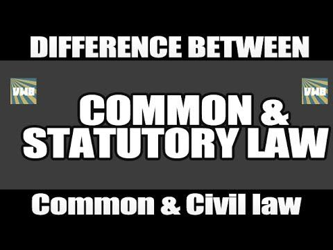 Common law Vs Statutory Law and Common law Vs Civil law : Differences
