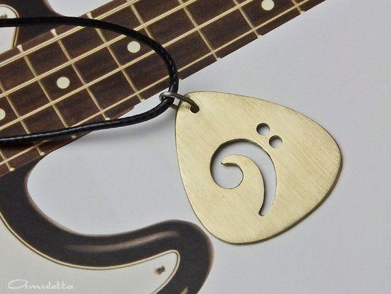 Benutzerdefinierte Plektrum Halskette  Bassschlüssel von AmulettaHu