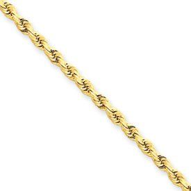 14k 2.25mm D-Cut Rope Lobster Clasp Chain Anklet - 9 Inch - Lobster Claw - JewelryWeb JewelryWeb. $320.90