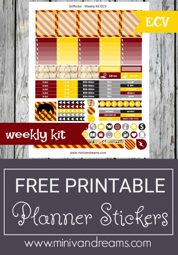 Free Printable Planner Stickers - Griffindor via Mini Van Dreams: http://www.minivandreams.com/free-printable-planner-stickers-griffindor/