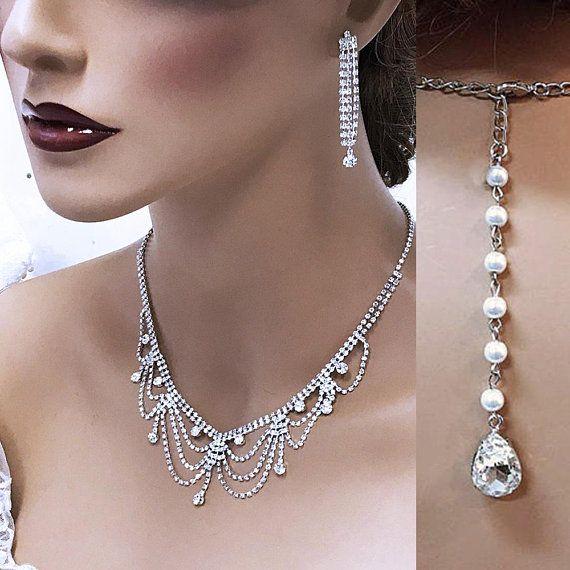 bridal jewelry set backdrop Crystal bridesmaid Jewelry Set