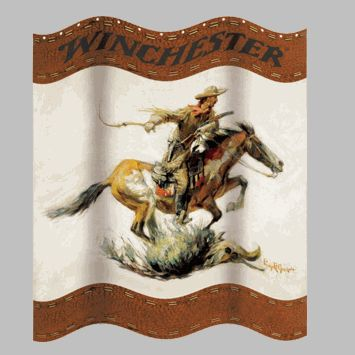 "(RWB-W1220) ""Winchester"" Western Shower Curtain"
