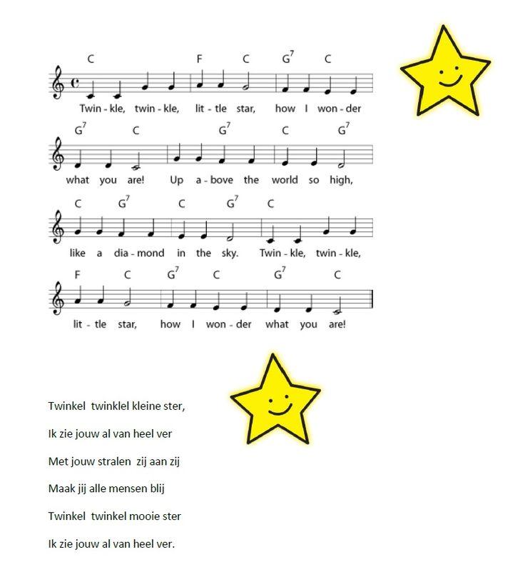 twinkel twinkel kleine ster. Zowel in het Engels als in het Nederlands.