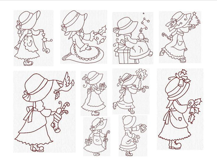 Instant Download  Machine Embroidery Designs Redwork Sunbonnet Christmas Set of 10 Size 4x4. $5.55, via Etsy.