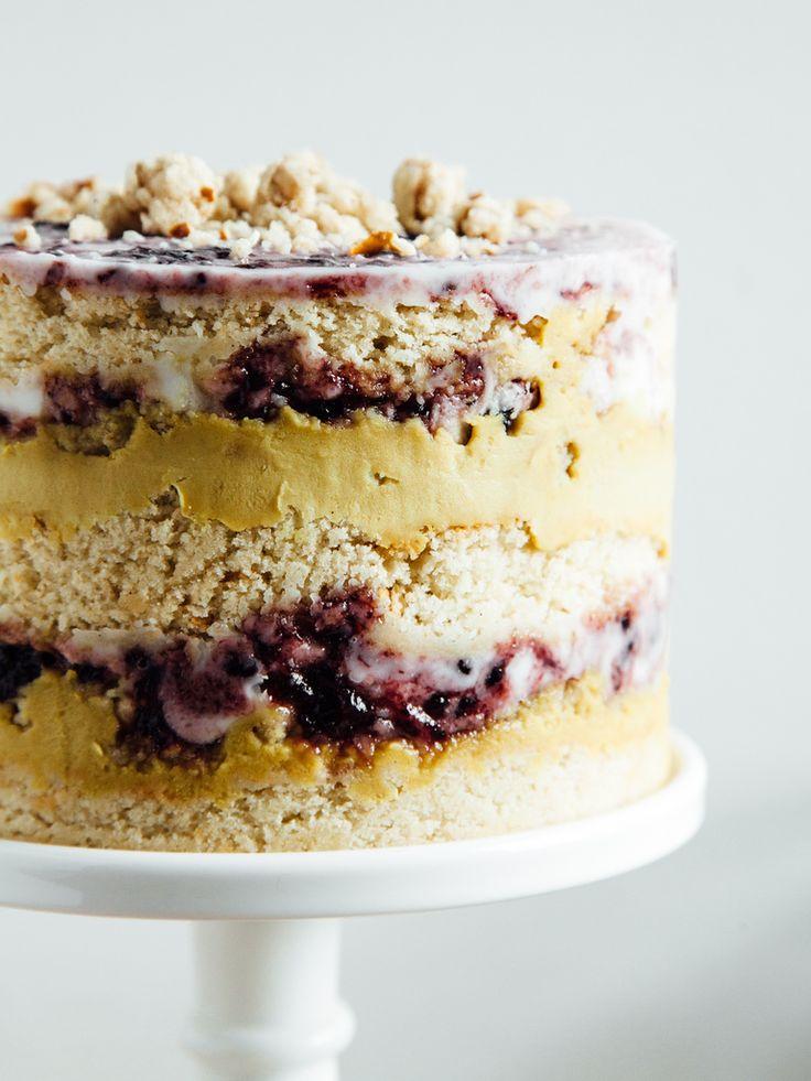 VANILLA BEAN + BLACK RASPBERRY-LUCUMA CAKE WITH SALTED PRETZEL CRUMBS