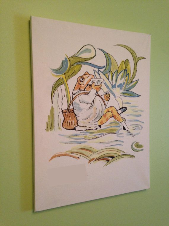Digital Print of Hand Painted Beatrix Potter / Jeremy Fisher 16 x 12 canvas on Etsy, $40.00 CAD