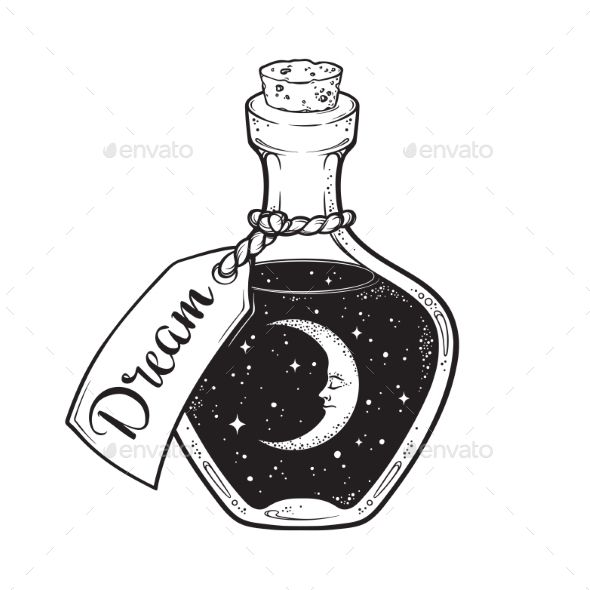Dream In Bottle With Moon And Stars Bottle Dream Stars Moon Moon Drawing Space Drawings Bottle Drawing