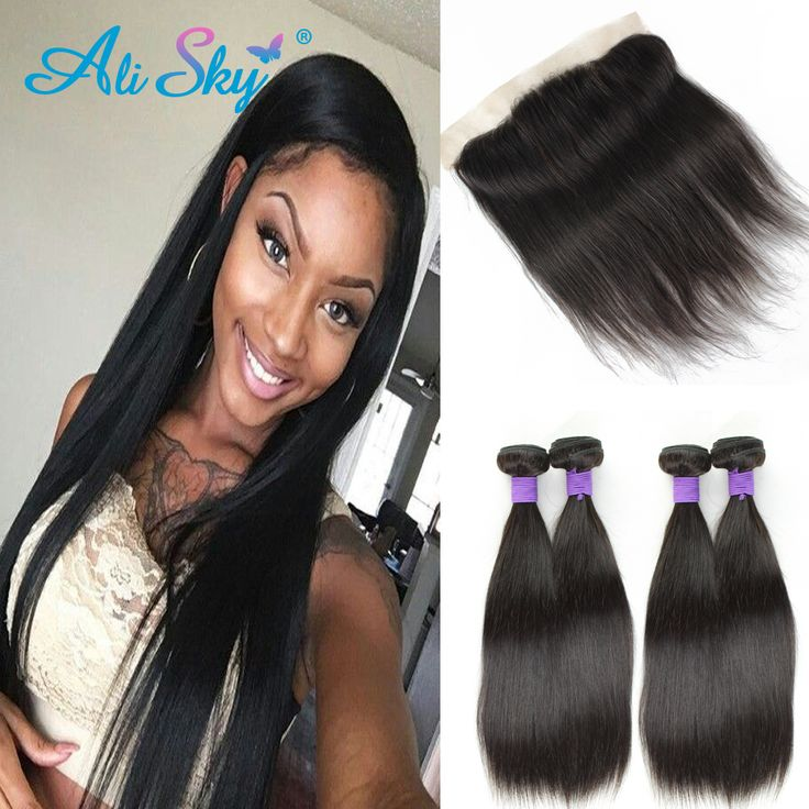 Indian Straight Virgin Hair 4 Bundles with Lace Frontal Closure Indian Human Hair 4 Bundles sky Virgin Hair Bundle Deals