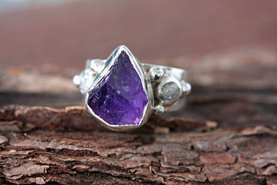 Rough+Diamond+Amethyst+Ring+Sterling+Silver+Raw+by+ManariDesign,+$242.00