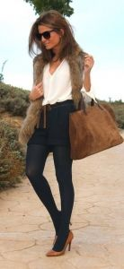 #fall #fashion / faux fur. I like the navy tights they are like leggings but are classy.