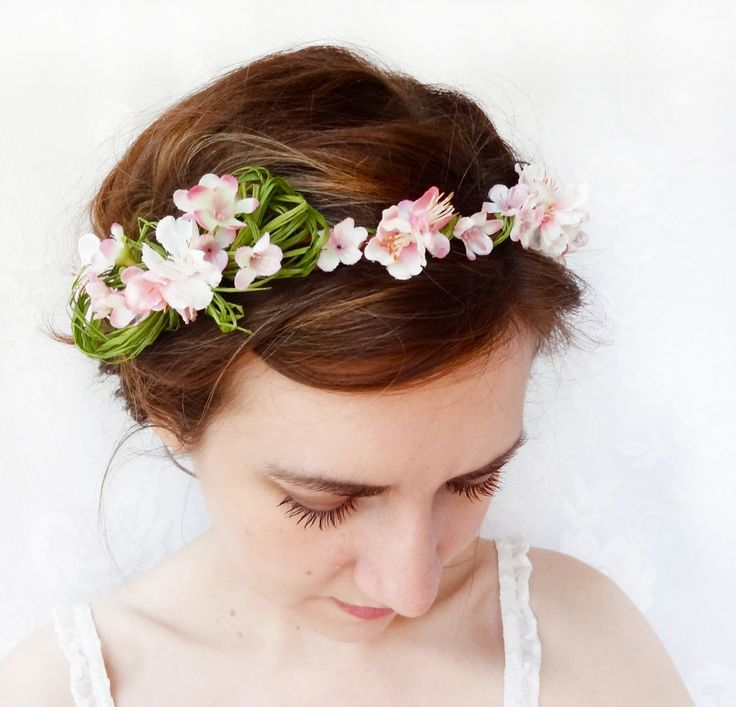 pale pink flower crown, flower girl circlet, cherry blossom hair accessory - PEEK-A-BOW - spring green, headpiece. $60.00, via Etsy.